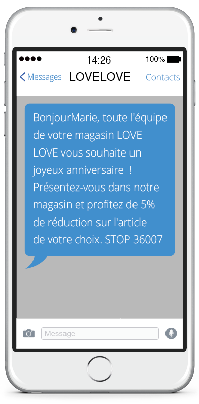 8. SMS anniversaire : SMS Events
